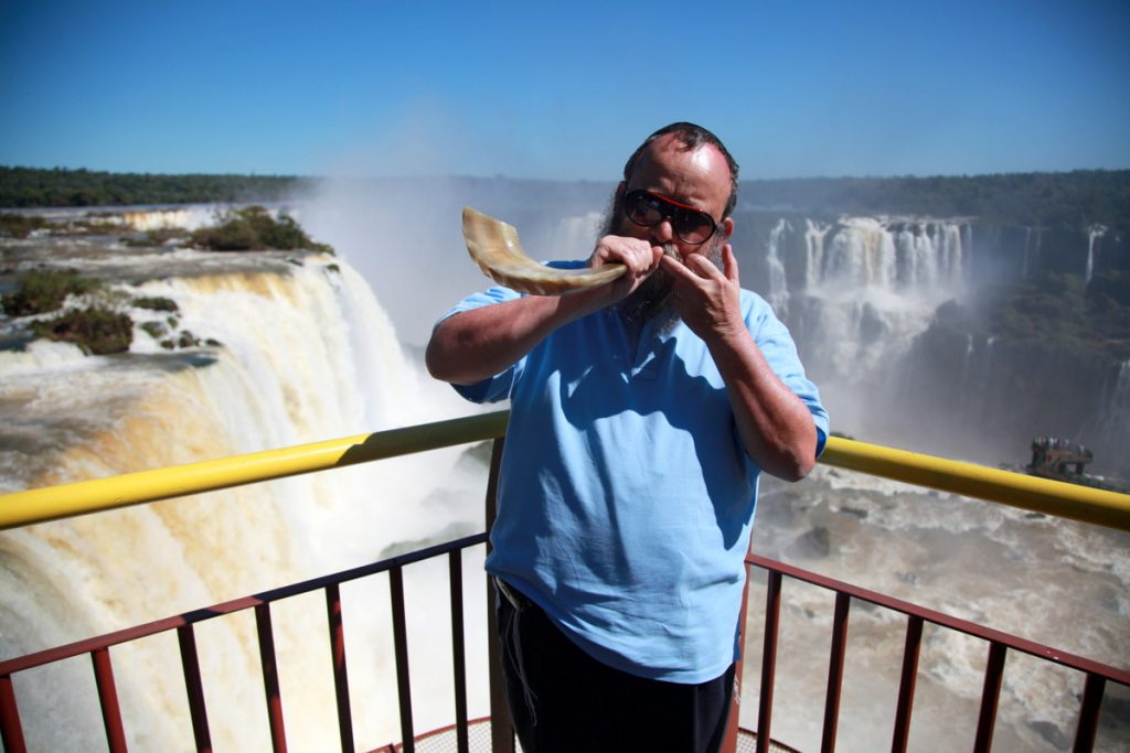 Blowing a Shofar in the Brazilian side of the Iguazu Falls